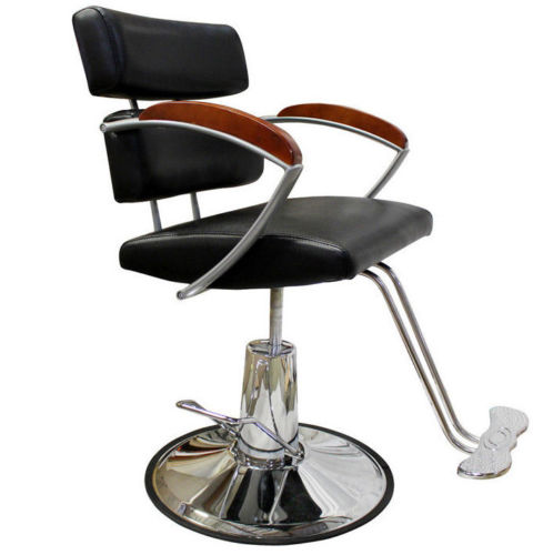 Professional Chrome Barber Chair W/ Solid Wood Arm Rest