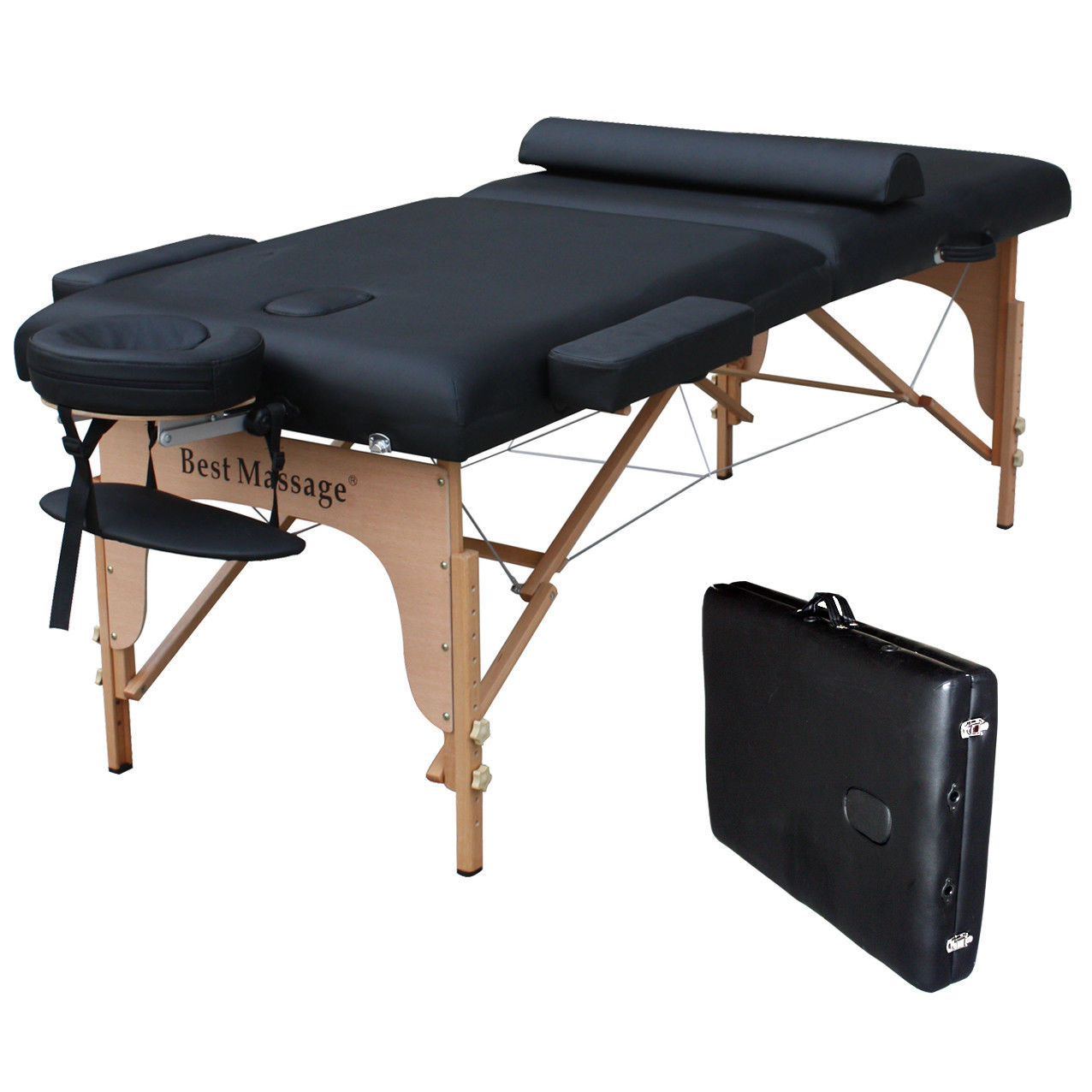 Full sized massage table w half round bolster for Html table padding